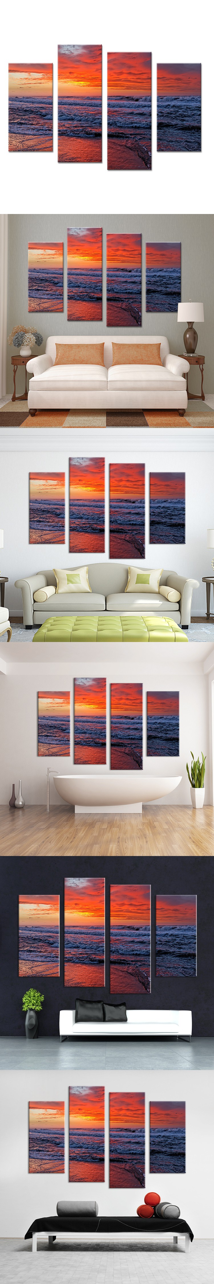 Sundown in the ocean beach wall painting print on canvas for home sundown in the ocean beach wall painting print on canvas for home decor ideas paints on wall pictures art no framed amipublicfo Gallery