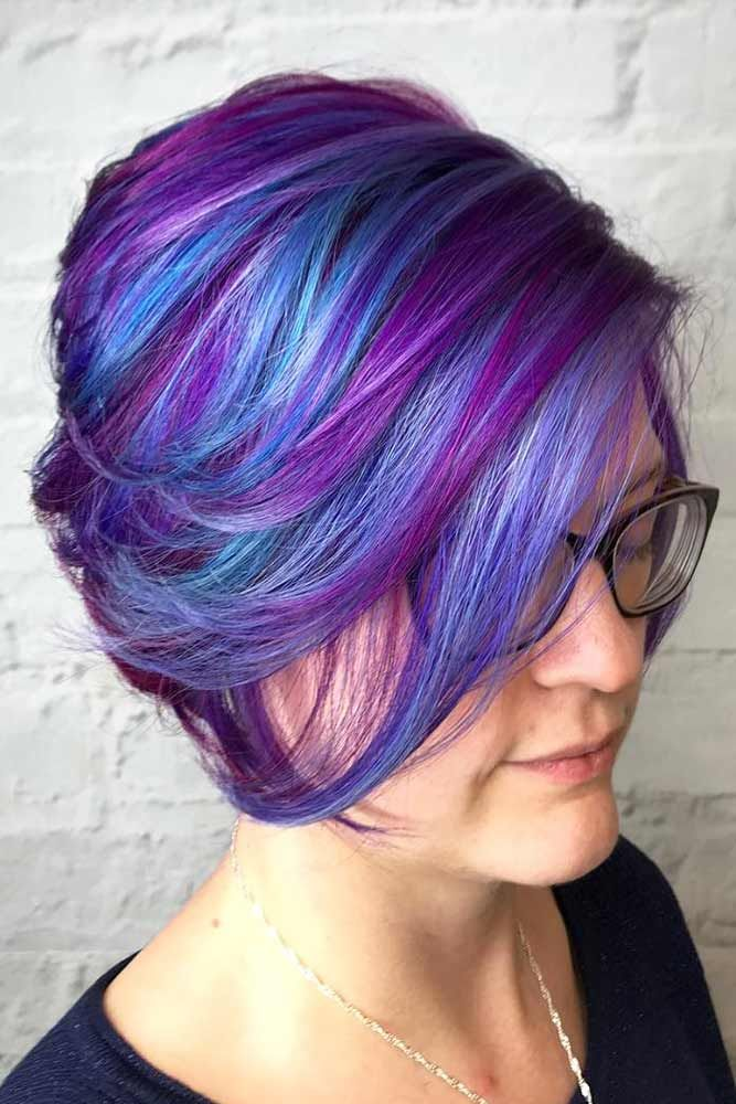 24 Stunning Purple Highlights Ideas To Make Your Daily Look Unique Short Hair Highlights Hair Dye Colors Dyed Hair