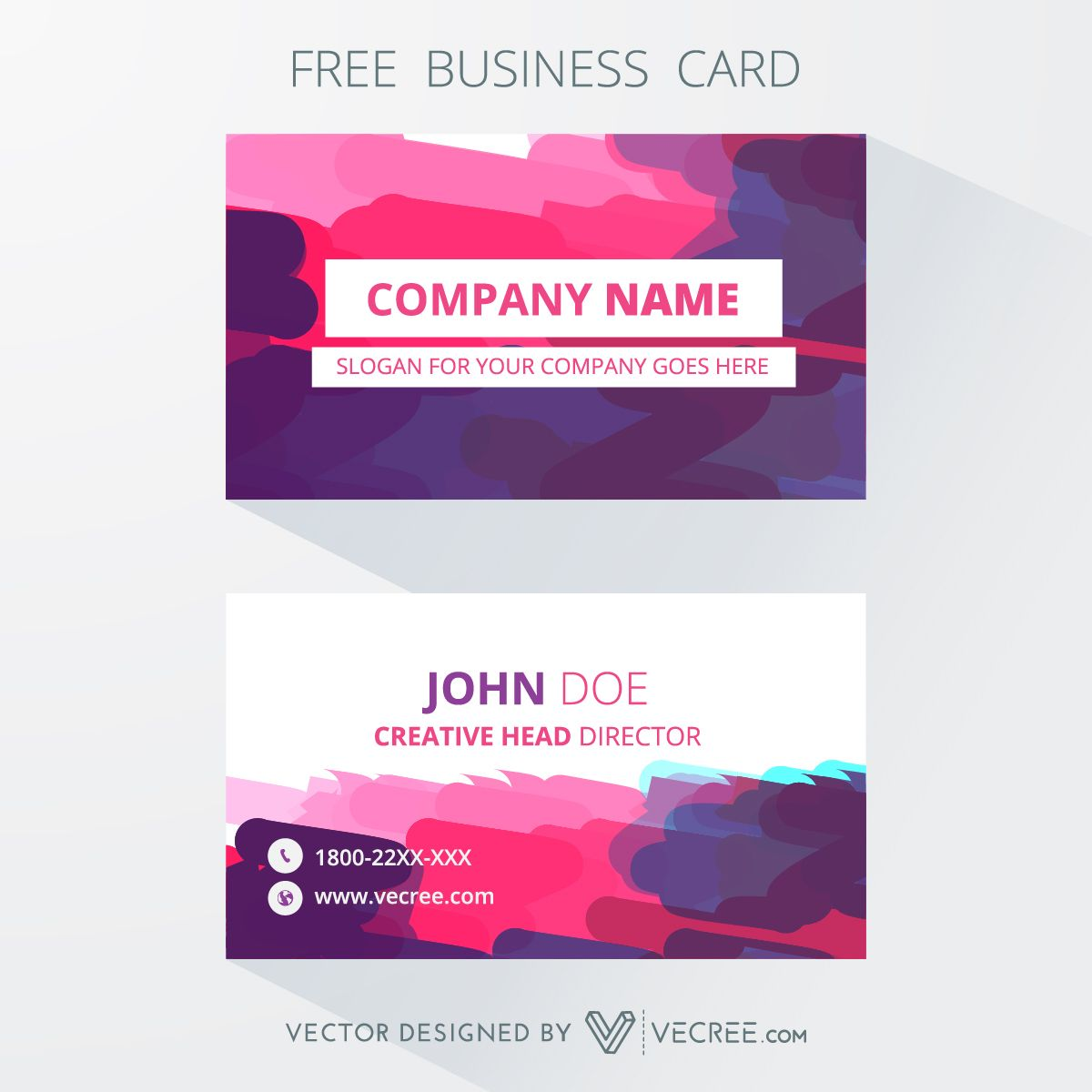 Print Ready Business Card Design With Colorful Background Free ...