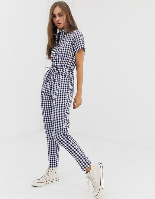 16ef221100 Daisy Street boiler suit with tie waist in gingham in 2019