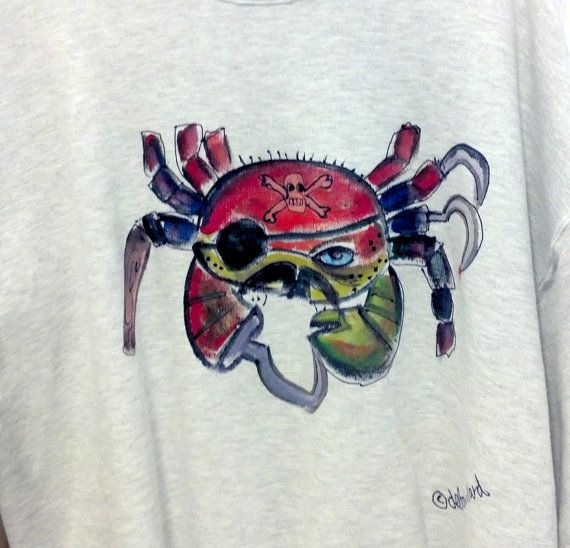 Pirate Crab Hoodie or Sweatshirt Hand Painted for Boys