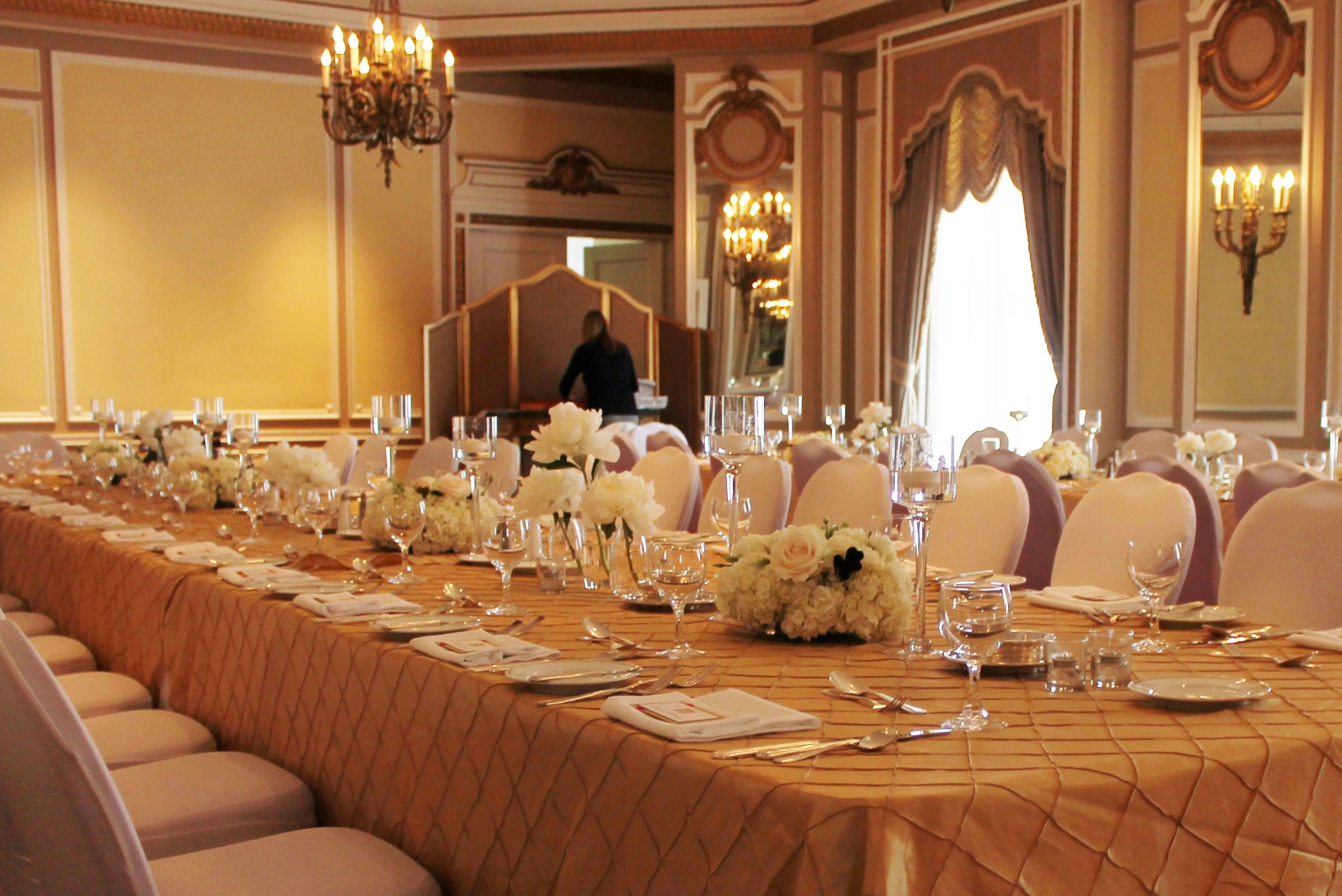 Golds And Cream Ivory Wedding, Long Table Decor, Floating