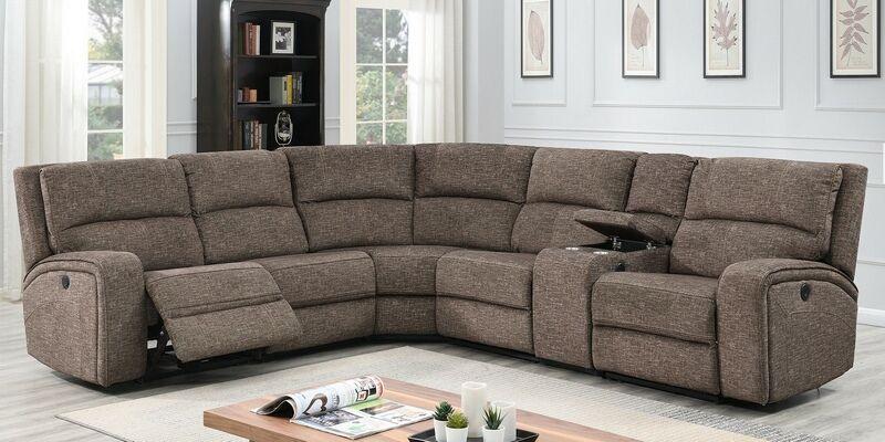 Solari Brn 3 Pc Solari Brown Fabric Power Motion Sectional Sofa