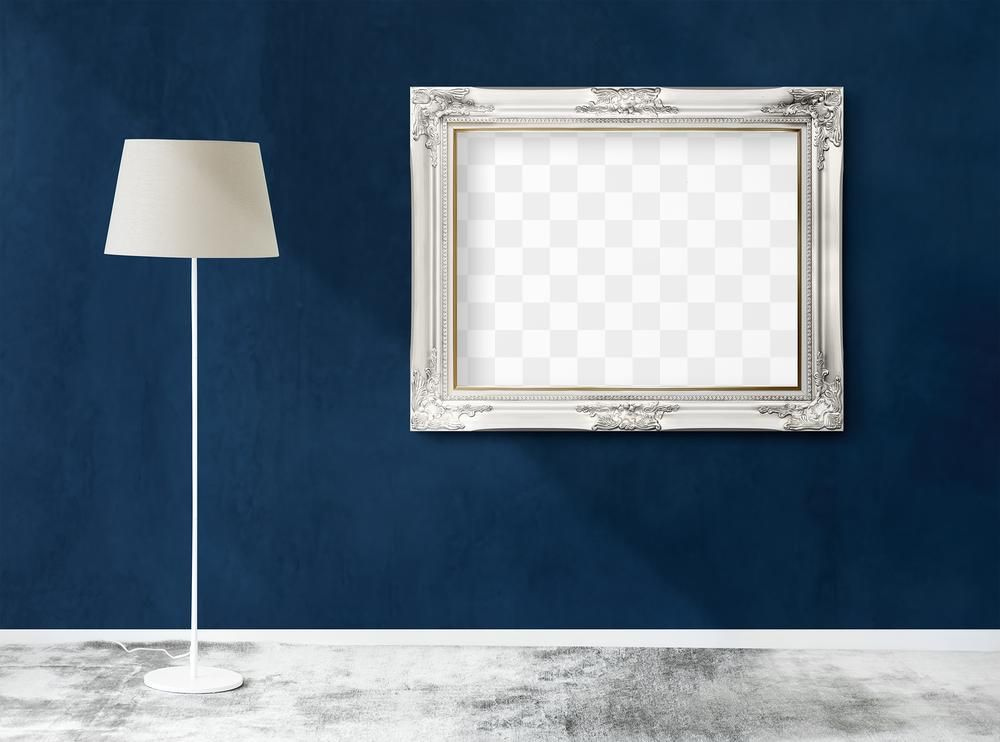 White Lamp By A Blue Wall Hanged With A Blank White Picture Frame Mockup Free Image By Rawpixel Com Nook In 2020 White Lamp Blue Walls White Picture Frames