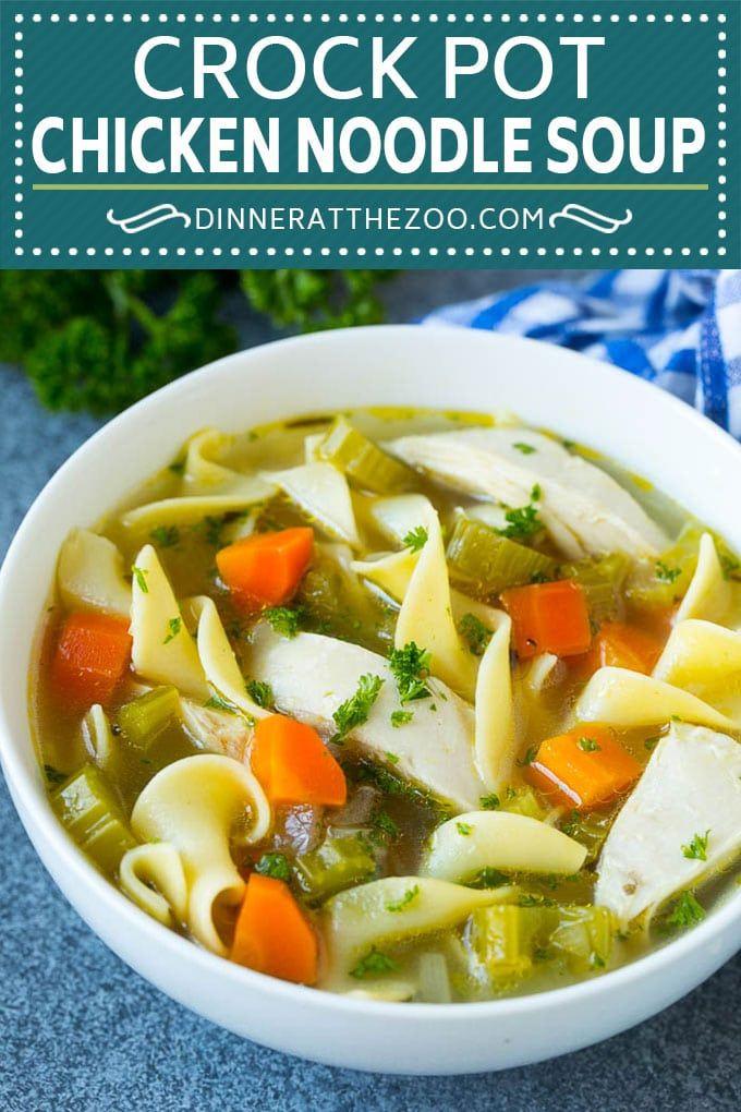 crock pot chicken noodle soup recipe  slow cooker chicken