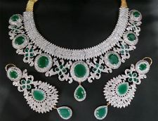diamond necklace with emerald