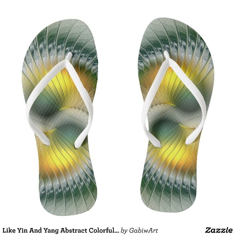 Like Yin And Yang Abstract Colorful Fractal Art Flip Flops