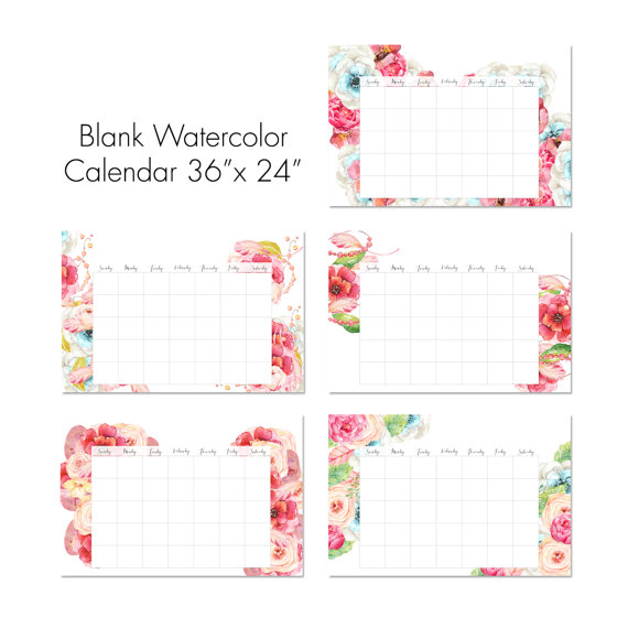 36 X 24 Blank Watercolor Floral Calendar Instant Printable Wall