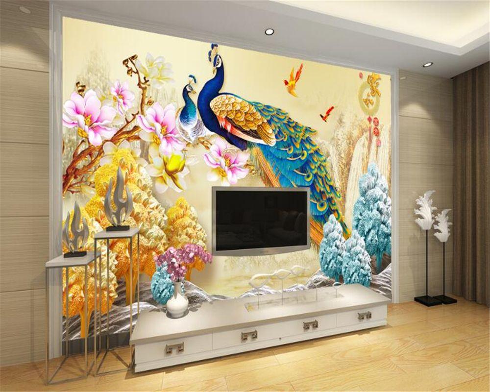 Beibehang Custom 3d Wallpaper Living Room Bedroom Mural Peacock Relief Flower Sofa Tv Backgrou Peacock Wallpaper Living Room Ceiling Wallpaper 3d Wall Painting 3d ceiling wallpaper india