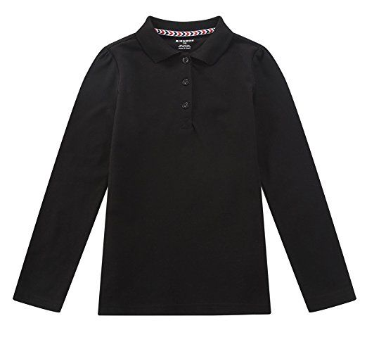 Bienzoe Girls Antimicrobial Breathable Quick Dry Long Sleeve Polo