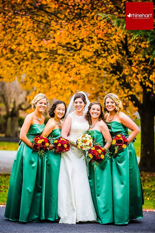 Emerald Green Bridesmaids Dresses Fall Wedding Fall Color Scheme