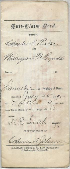 This is a Quit-Claim Deed between Charles Rice of Sangerville - quick claim deed