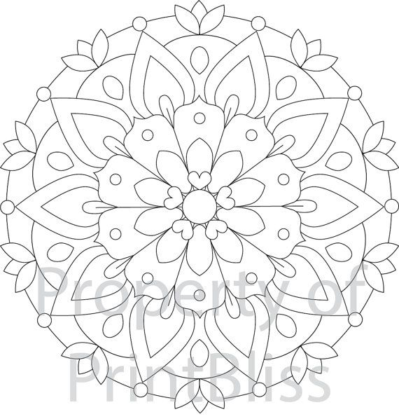 2. Flower Mandala printable coloring page by PrintBliss on