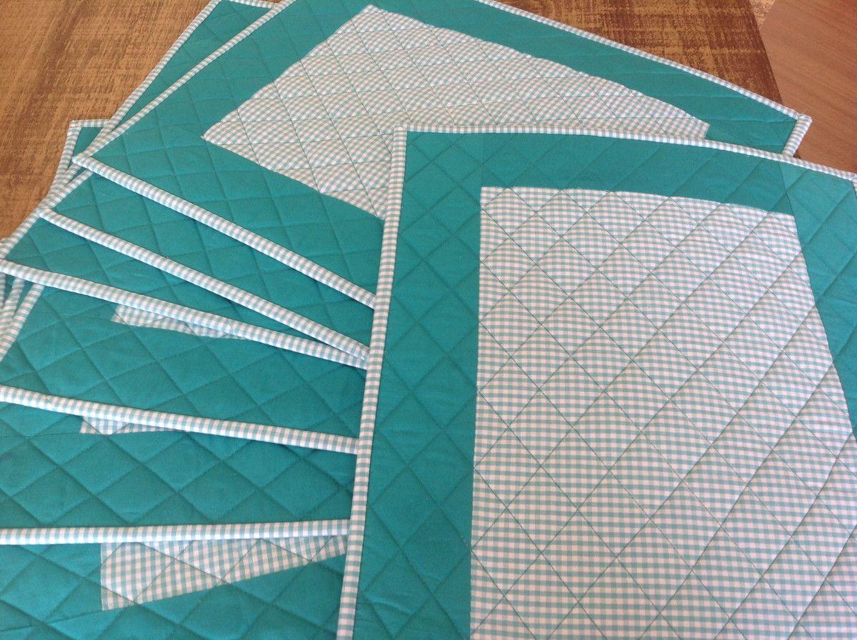 Jogo Americano Azul Tiffany Dupla Face Tecidos Combinando Pode Ser Usado Dos Dois Lados Quiltado Estruturado Jogo Americano Patchwork Jogo Americano Para Mesa