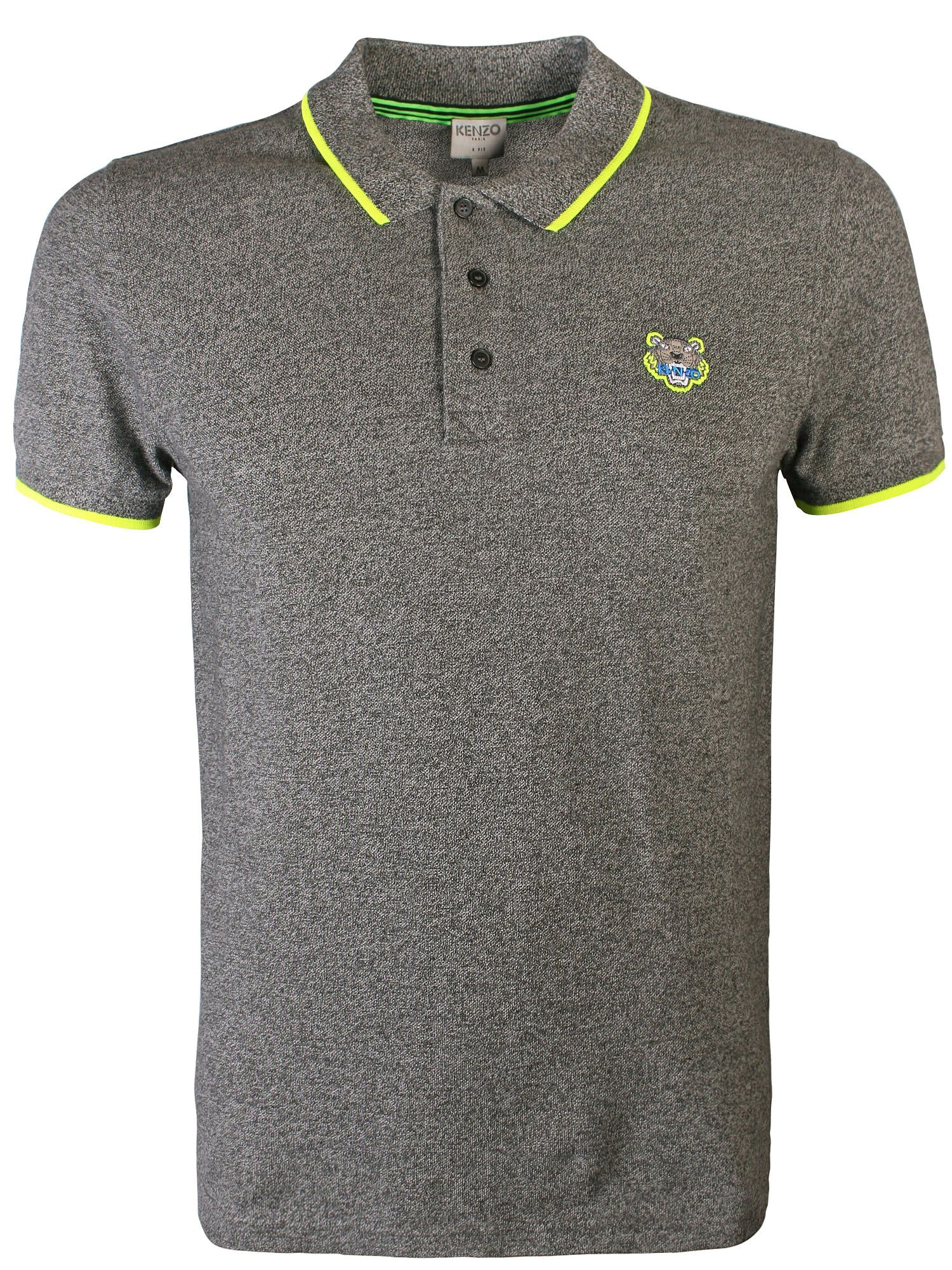 Kenzo Tipped Tiger Logo Polo Shirt Grey - Tipped tiger logo polo shirt in grey from kenzo features contrasting trim to the collar & sleeves, iconic tiger head embroidered at the left chest and a three button placket. It also features ribbed trims and short sleeves.