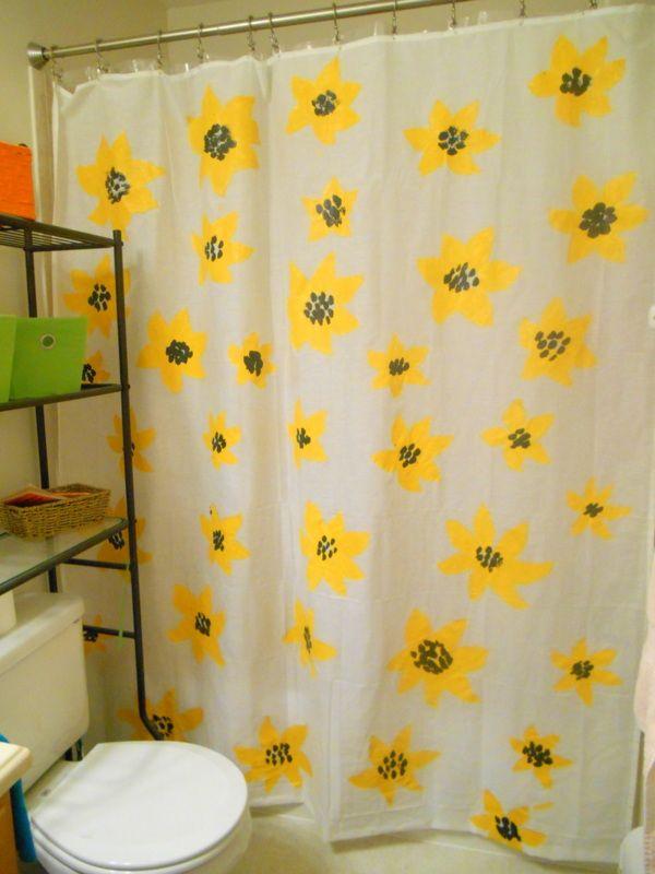 DIY Painted Shower Curtain (a.k.a. my latest brainchild/creative ...