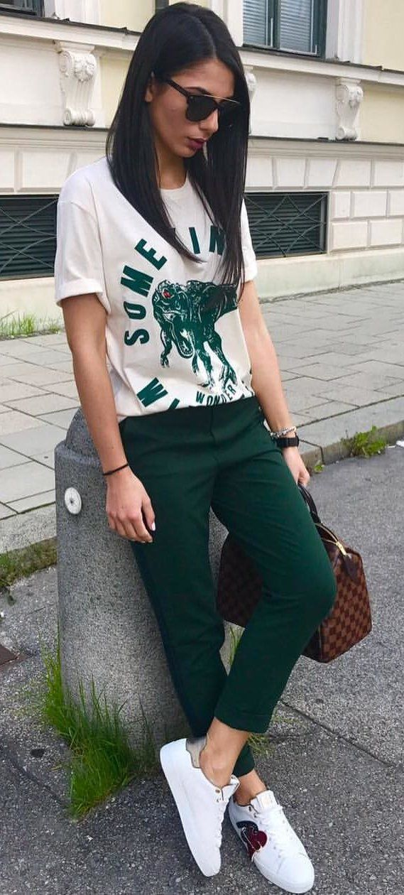 06e64be46304 #fall #outfits women's white and green printed crew-neck t-shirt and green  pants