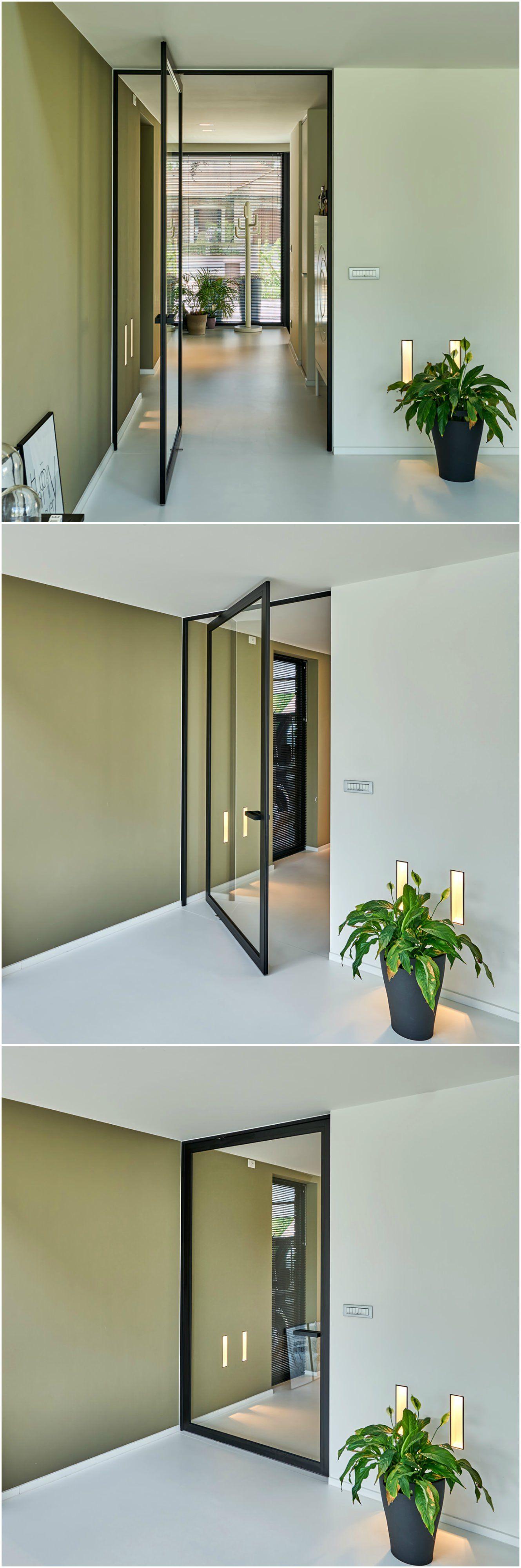 porte vitr e sur pivot d sax type steel look hall. Black Bedroom Furniture Sets. Home Design Ideas
