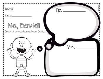 No David Activities No David First Grade Freebies