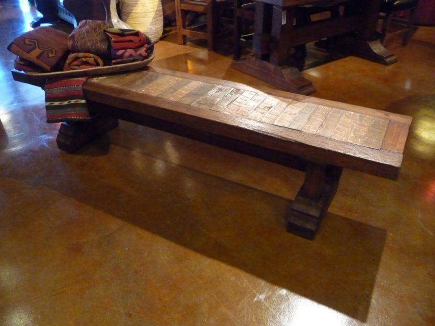 Elite mesquite inlay no back bench furniture exclusive