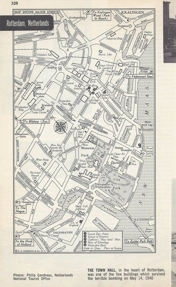 Map Of Europe 1950s.Rotterdam Netherlands Map City Map Street Map 1950s Europe