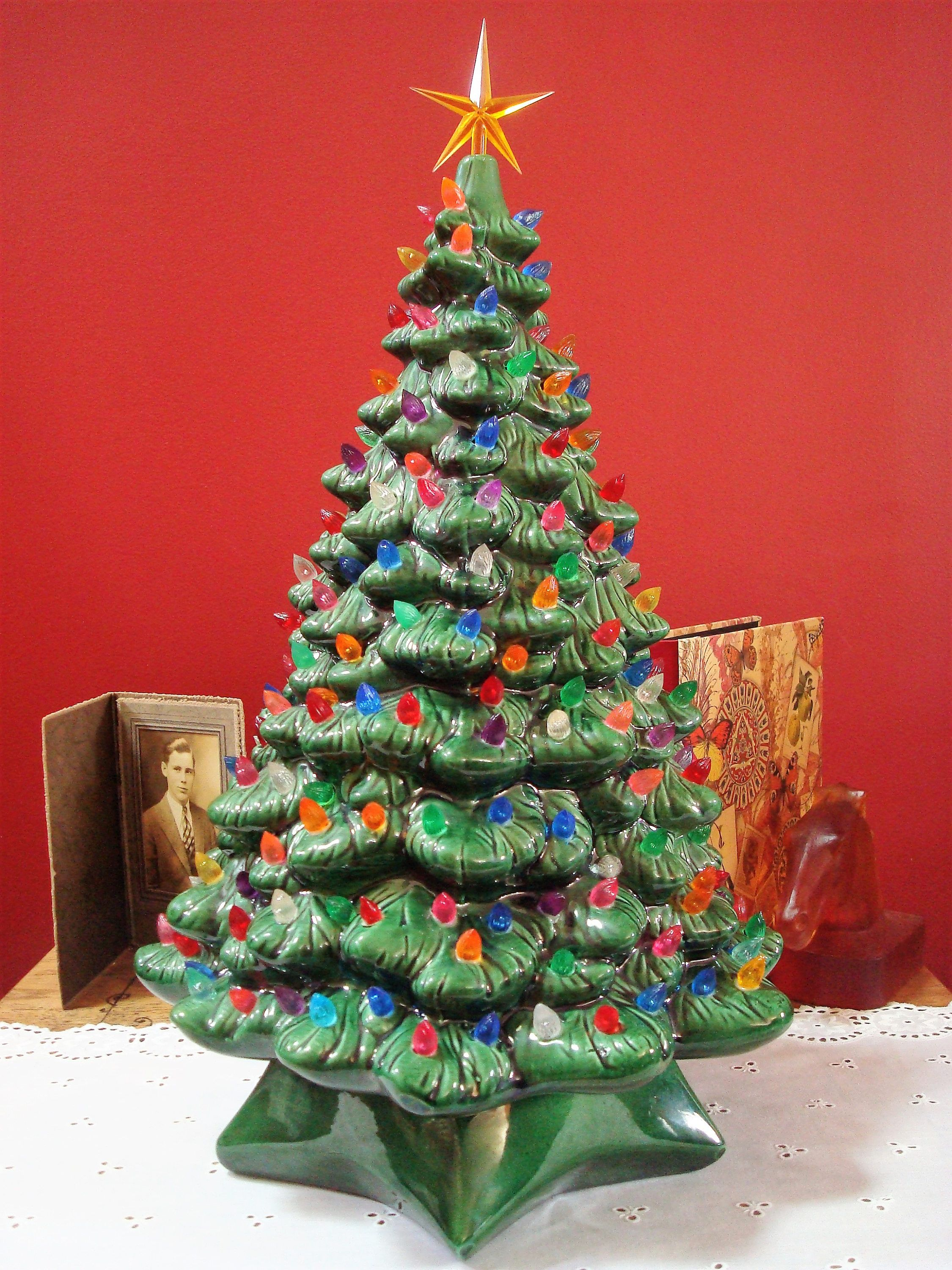 Vintage Large Size Green Ceramic Christmas Tree With Loads Of