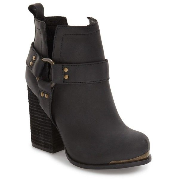 Women's Jeffrey Campbell 'Oshea' Engineer Bootie (2.875 ARS) ❤ liked on Polyvore featuring shoes, boots, ankle booties, black washed, chunky heel boots, chunky heel ankle boots, ankle boots, ankle strap booties and strappy boots