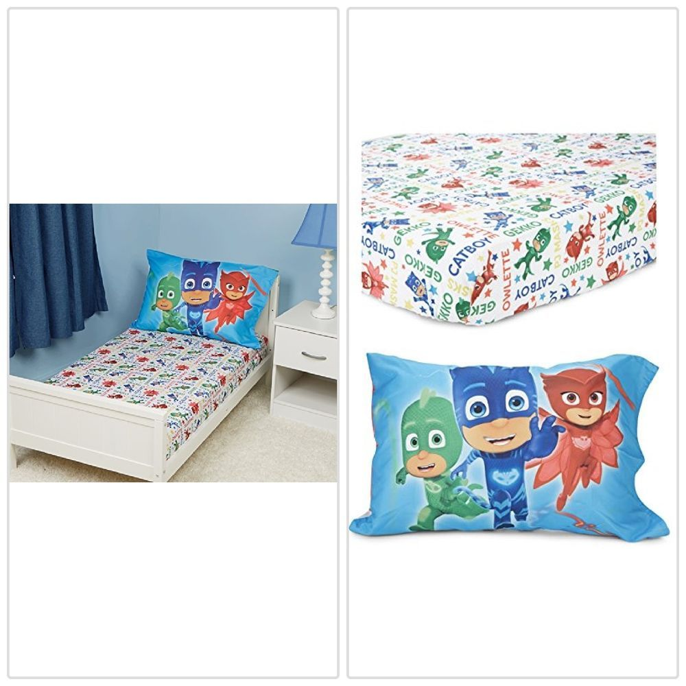 PJ Masks Toddler Bed Set Fitted Sheet And Pillow Case Kids
