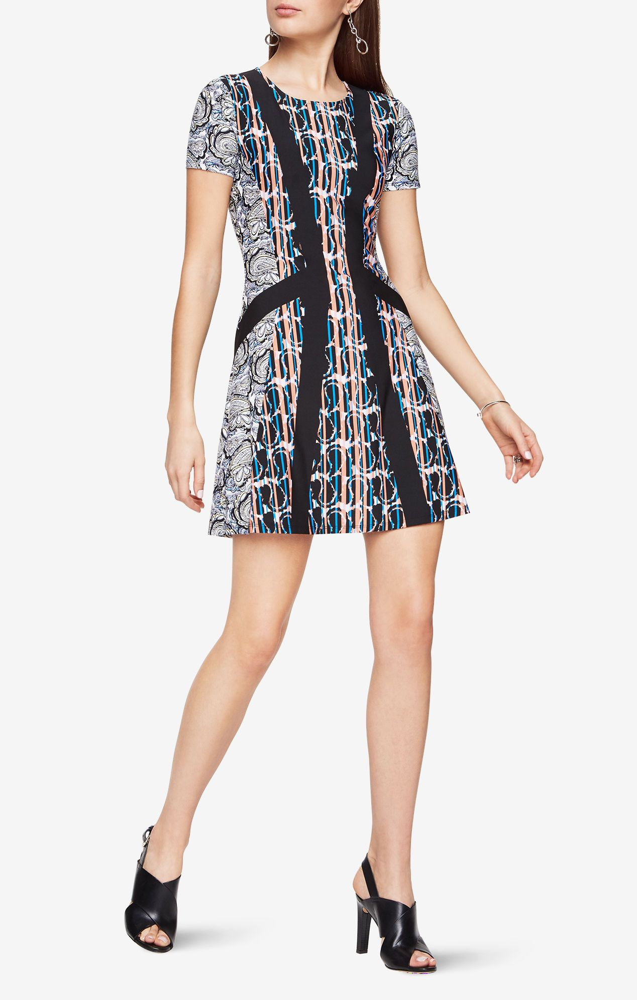 BCBG Max Azria Aleah Paisley Print Dress | Make a statement with print in this short-sleeve silhouette, complete with ink-inspired paisley patterns on stretch matte-jersey for the ultimate approach to office chic.