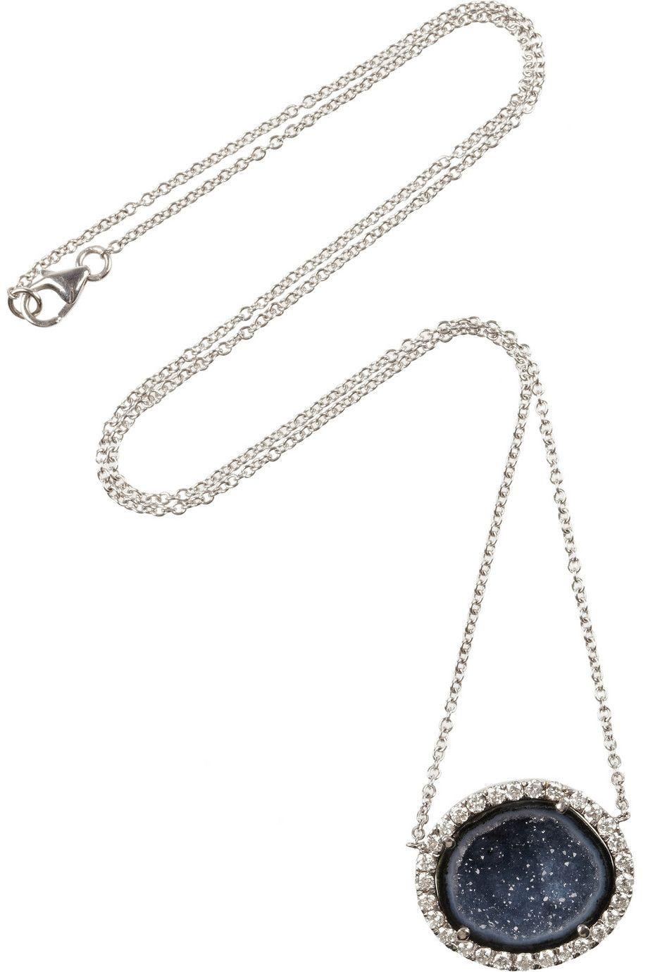 18-karat Rose Gold, Geode And Diamond Necklace - one size Kimberly McDonald