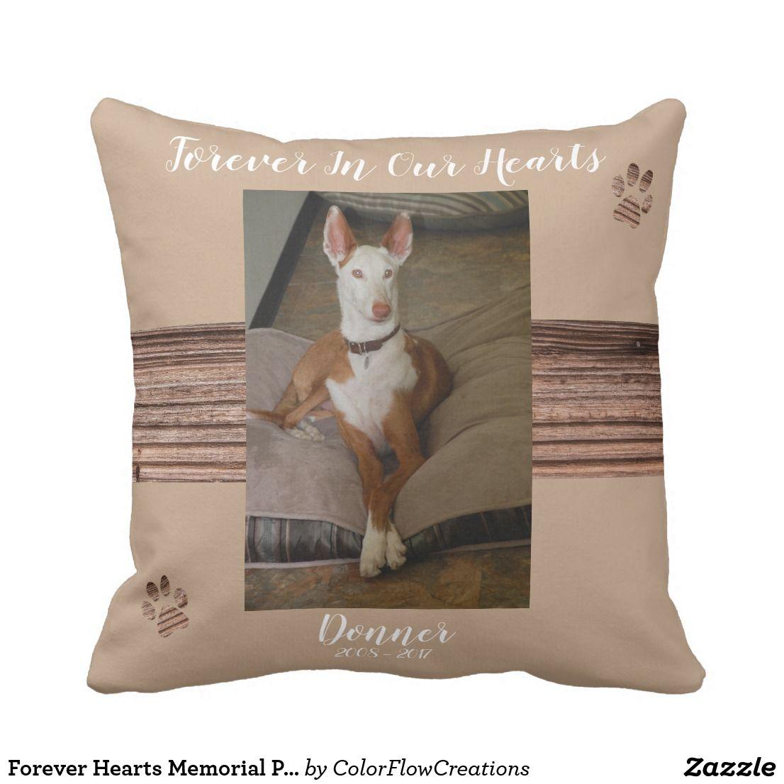 Forever hearts memorial pet pillow sympathy custom