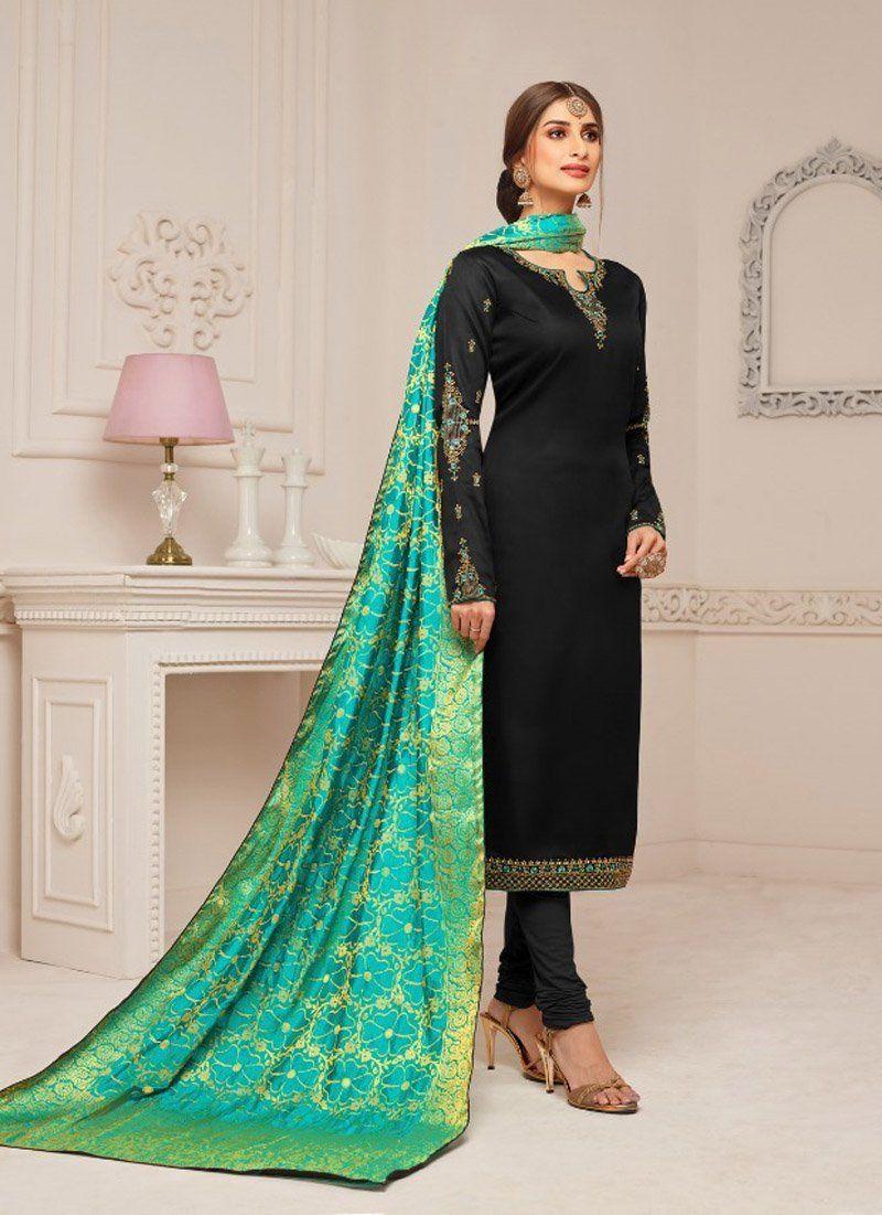 fd635b991f Black Straight Pure Cotton Jam Silk Chudidar Black Color Heavy Embroidery  With Jacquard Work – Arabic