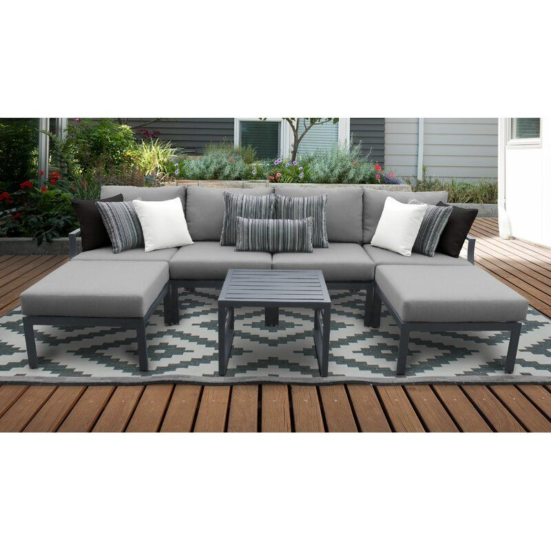 Benner Outdoor 7 Piece Sectional Seating Group With Cushions Patio Furniture Sets Aluminum Patio Furniture Patio Furniture Layout