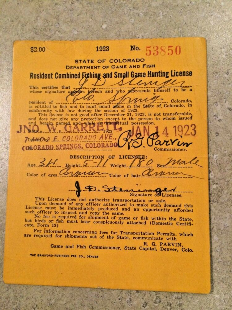 Vintage Resident Combined Fishing & Small Game License