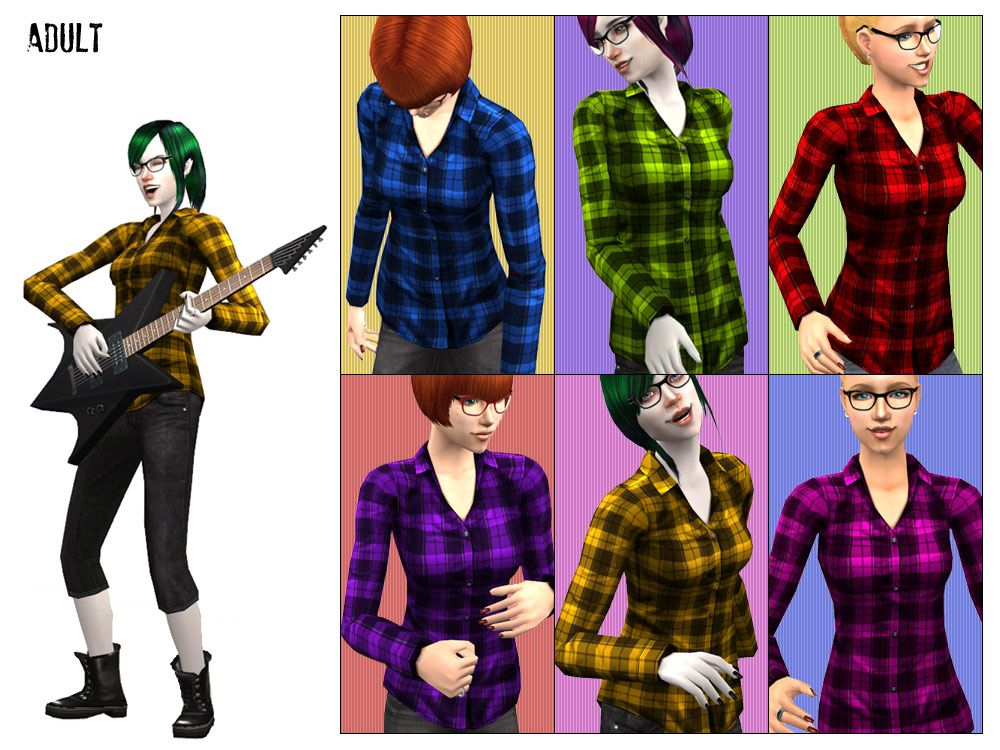 Mod The Sims - Flannel Shirts (6 colors) - Tops for YF/AF & TF