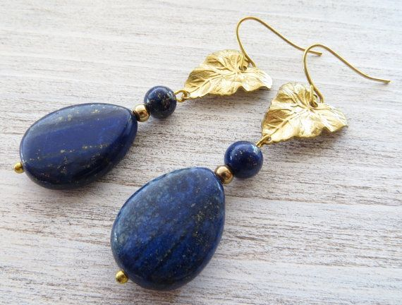 Lapis Earrings Blue Drop Golden Leaf Vintage Style Jewelry Stone