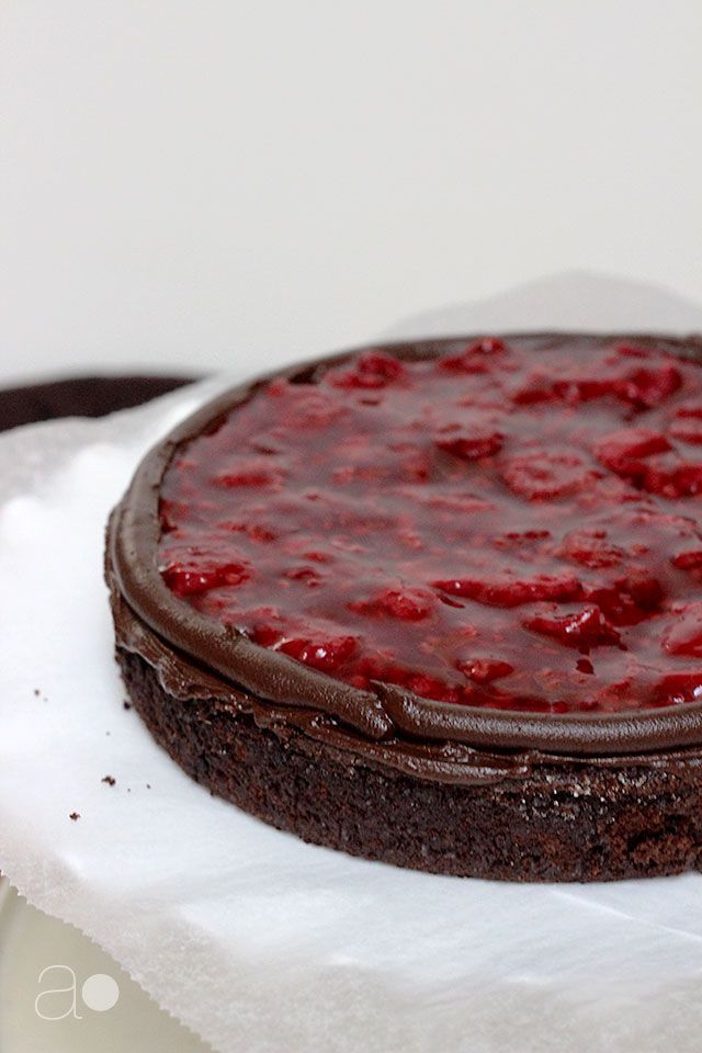 A Dark Chocolate Raspberry Truffle Cake The Title Is