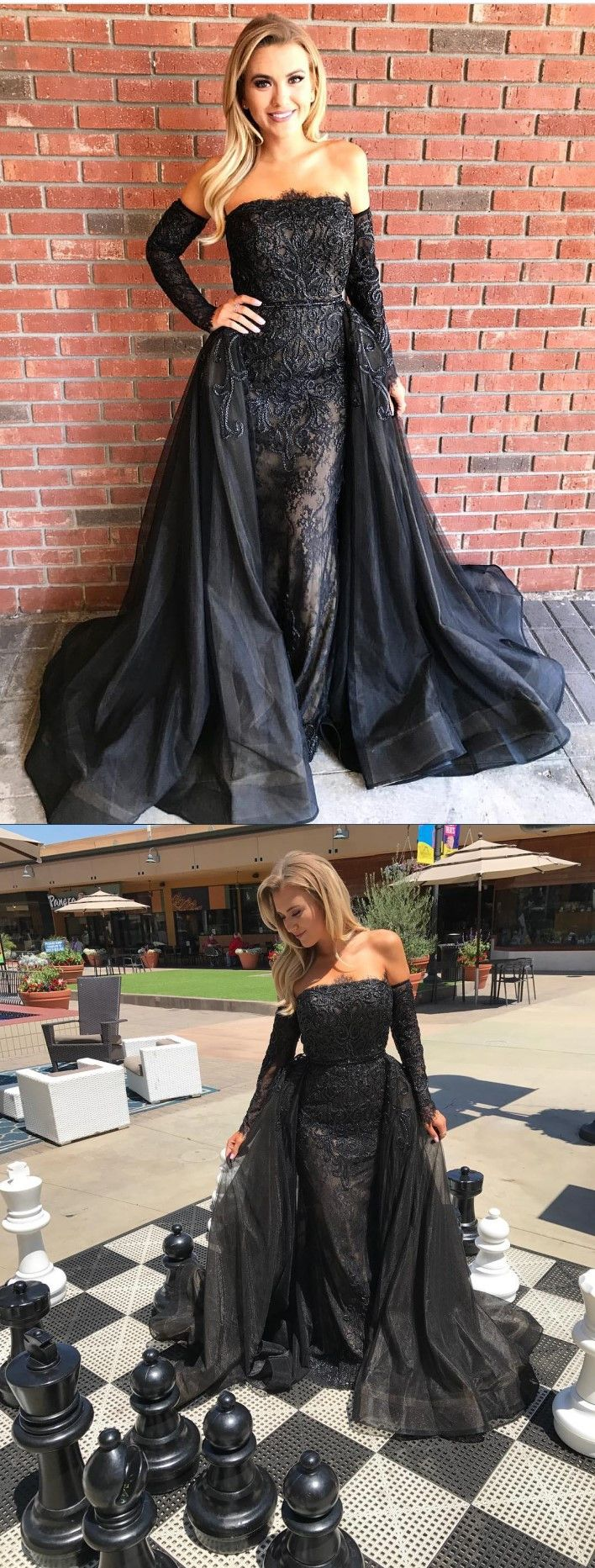Dreamy strapless prom party dresses with long sleeves fashion black