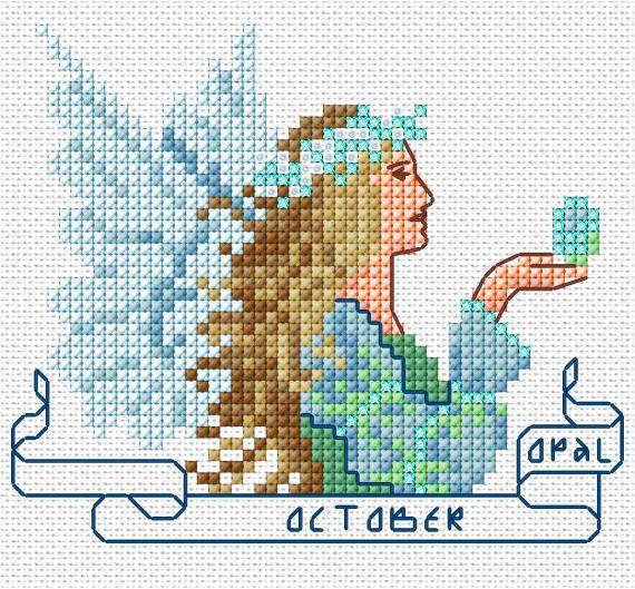 October Angel Cross Stitch Chart PDF, Opal Birthstone