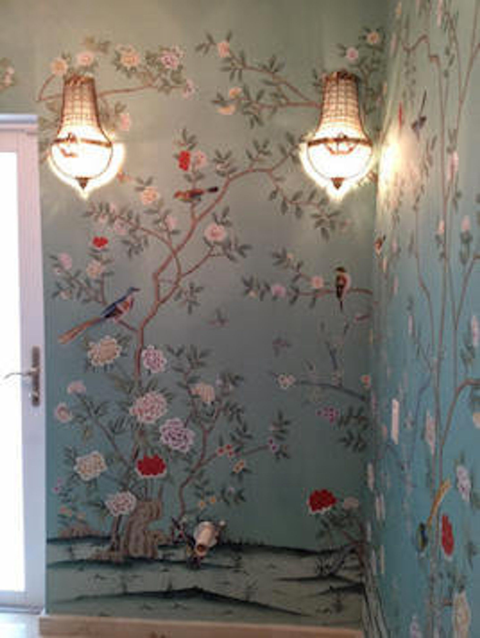 Chinoiserie powder room features gray green Asian