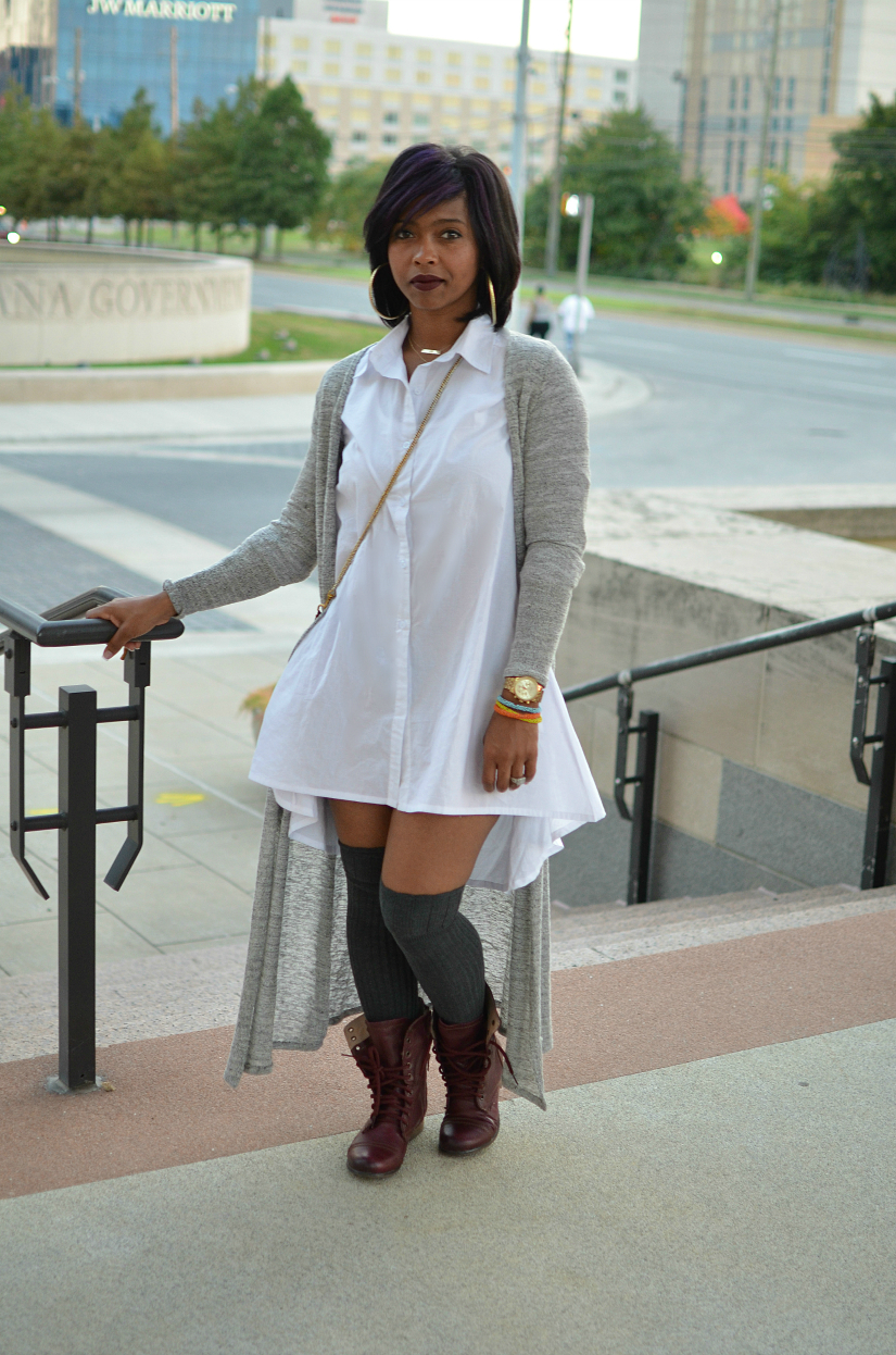 White Button Down with Maxi Cardigan Crushing on the long socks ...