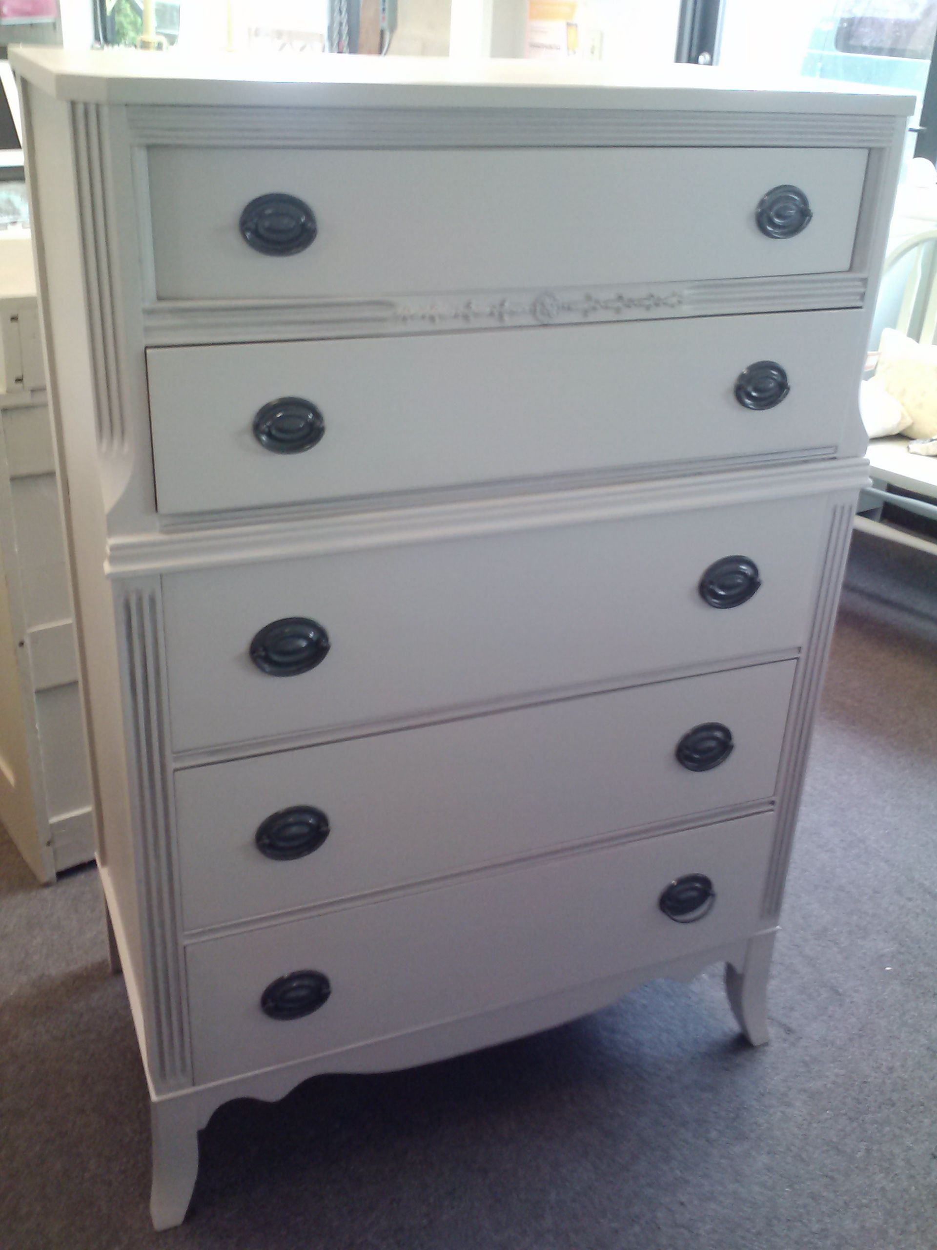 325 00 Tall Dresser With 5 Deep Drawers Painted Gray With Pewter Glaze On Edge Shabby Chic Vintage Painted Dresser Di Furniture Katie Homes Vintage Furniture