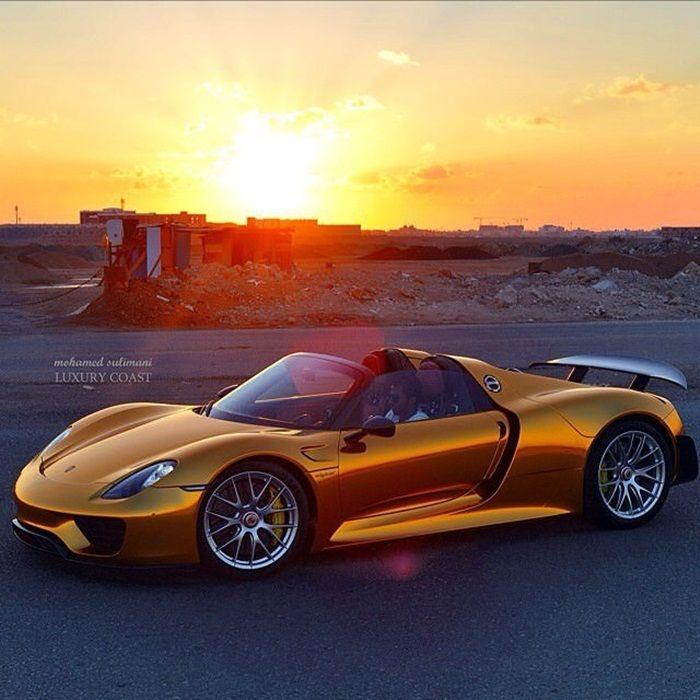Porsche 918 Spyder Concept: Gold Porsche 918 Spyder Weissach Package; Beautiful Sunset