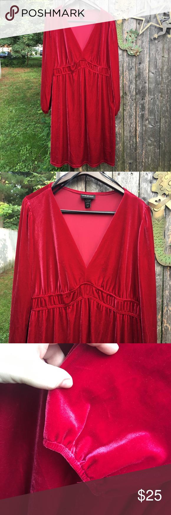 Red velvet empire waist skater dress from my personal