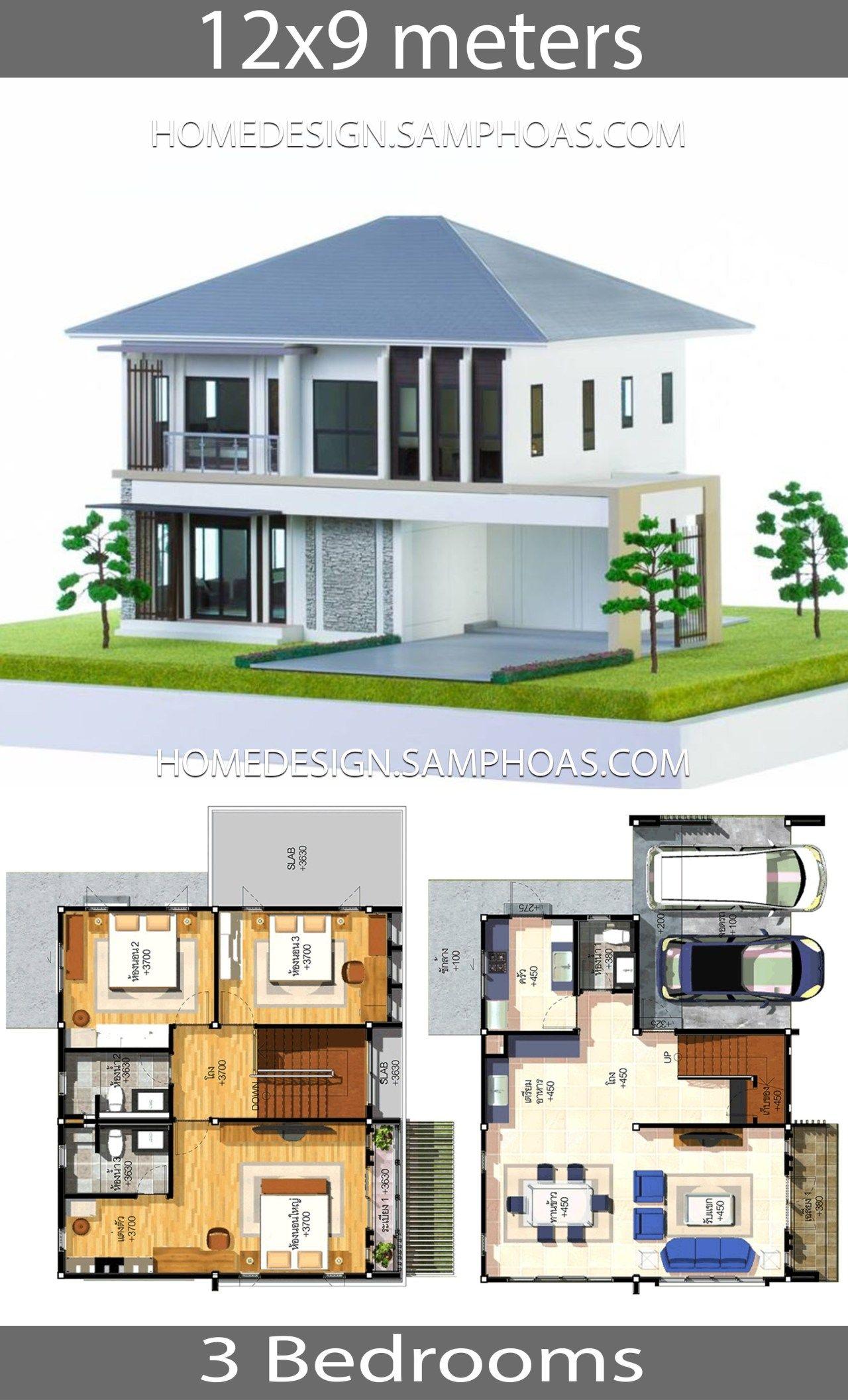 House Plans Idea 12x9 With 3 Bedrooms Projetos De Casas Terreas Casas Contemporaneas Projetos De Casas