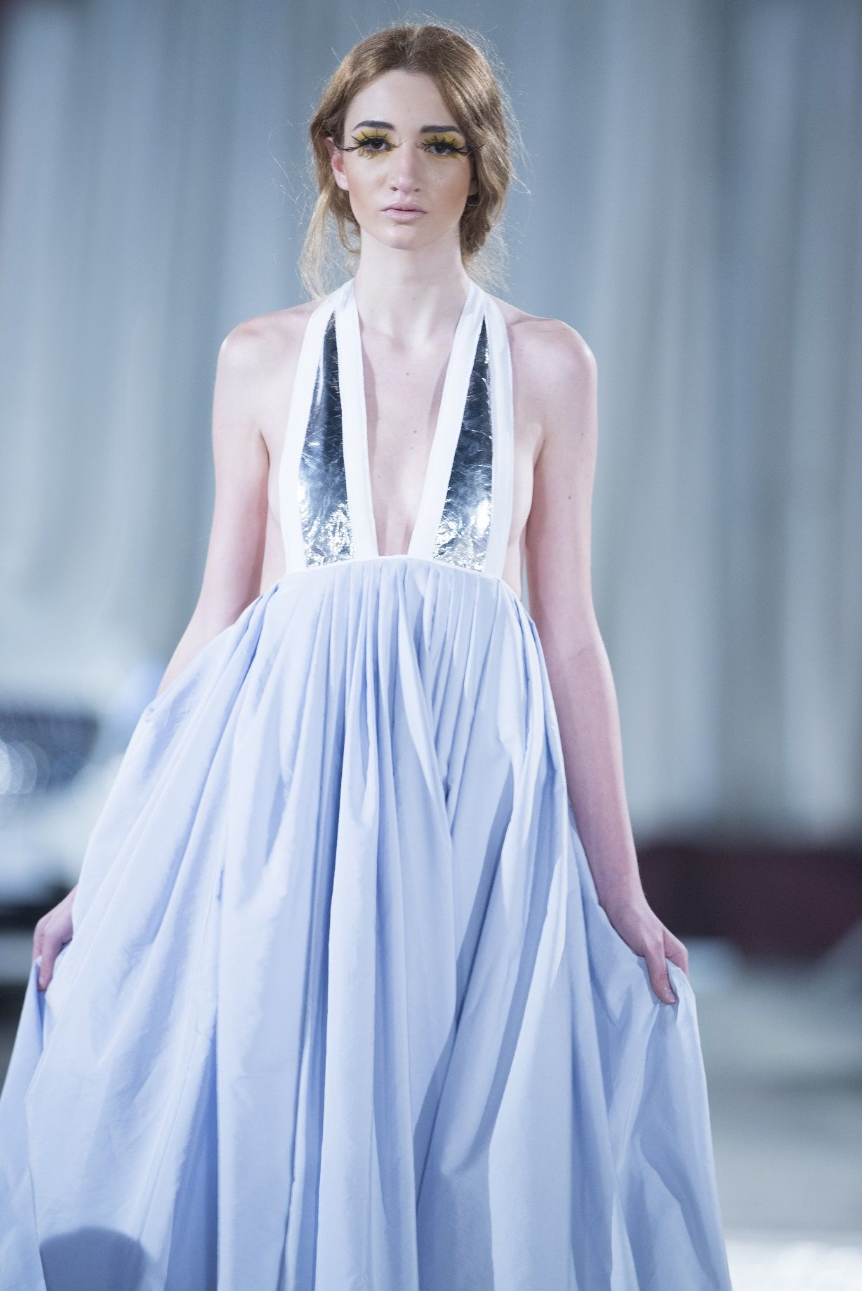 Serenity blue silk gown with silver accents by caroline hili ss