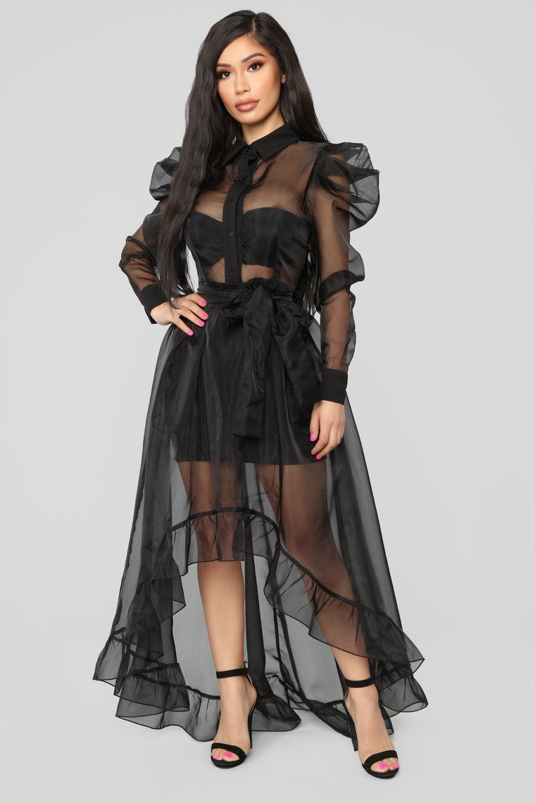 Happy You're Here High Low Dress Black Black high low