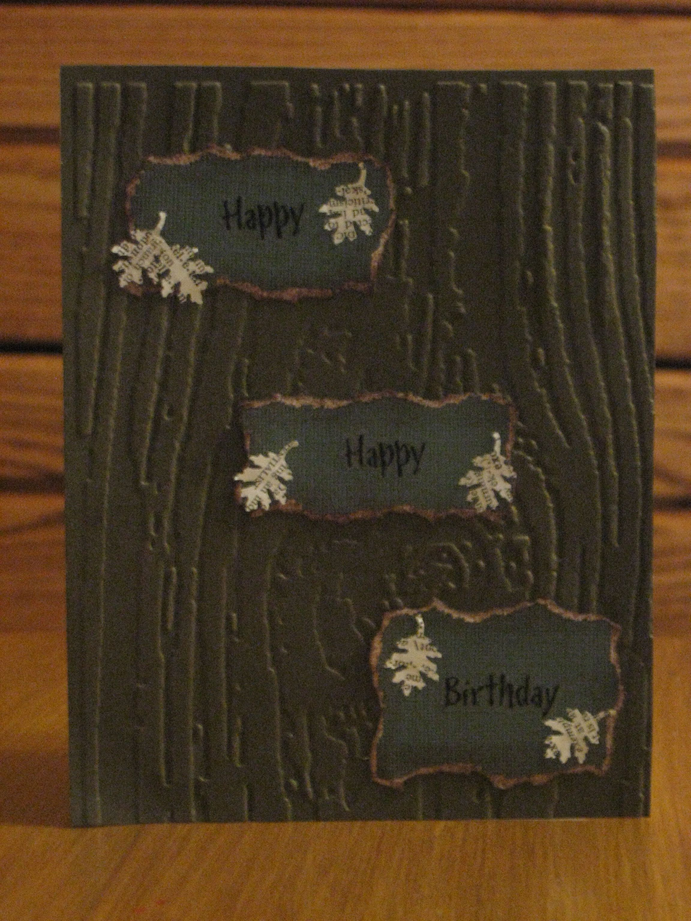 """Bark & Leaves"", Handmade Card."