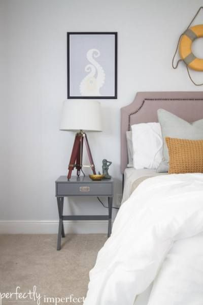 best paint colour for home staging is sherwin williams crushed ice which is a light gray paint colour. Shown in beach themed bedroom with upholstered ... & Top 8 Light NEUTRAL Paint Colours for Home Staging Selling ...