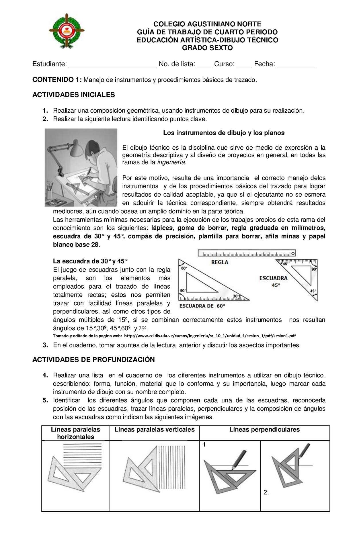 Guia De Trabajo Dibujo Tecnico Sexto Tecnicas De Dibujo Instrumentos De Dibujo Educacion Artistica